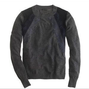 J Crew Lace Panel Sweater